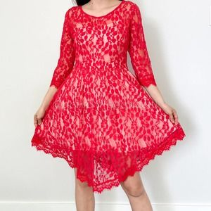 Free People Floral Mesh Lace Dress NWT 8